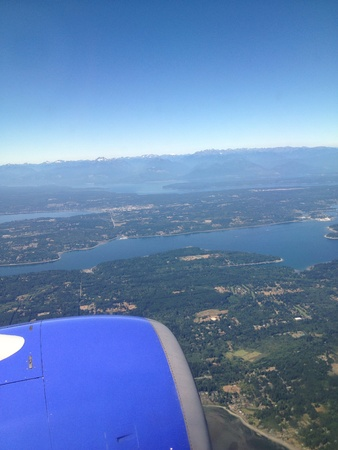 eye: Birds eye view photo of Seattle Washington from window of a plane.
