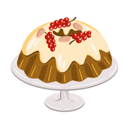 Christmas cake with berries and nuts on dish, traditional sweet bread glazed with sugar icing and decorated with red currant and almonds, isolated on white background, holiday dinner cartoon vector.