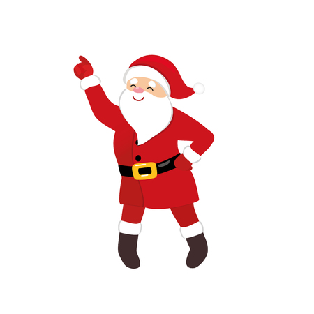 Cartoon Santa disco dancer, quirky comic animation character, funny retro dance, isolated vector, white background, 1970s style for print, t-shirt, greeting card, party invitation, motion design.