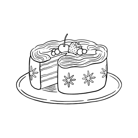 Holiday cake with berries and whipped cream, sweet pastry vector black and white illustration isolated on white background, Christmas dinner doodle drawing vector, for menu, coloring page, chalkboard.
