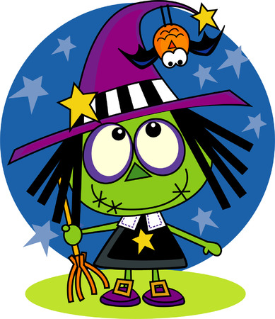 Cute, little witch ilustration  Vector