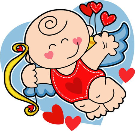 Cute flying baby boy cupid, Valentine Day ilustration Vector