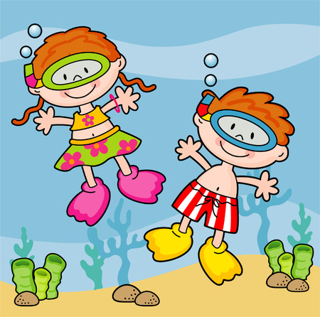 snorkel: two children swimming with snorkel in the sea  illustrations  Illustration