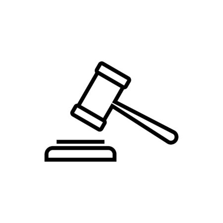 Gavel icon isolated on white background. Hammer icon vector. Judge Gavel Auction Icon Vector. Bid