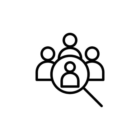 Hiring icon isolated on white background. Human resources concept. Recruitment. Search job vacancy icon. Hire. Find people icon