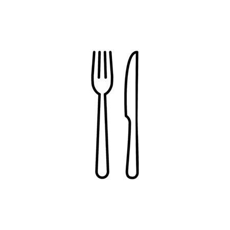 Gabel-, Löffel- und Messersymbol. Restaurant-Symbol. Essen-Symbol. Essen Vektorgrafik