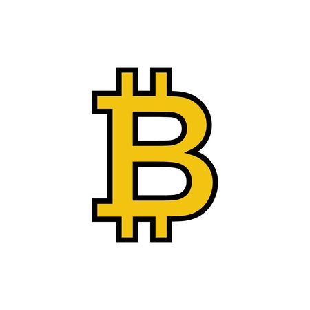 Bitcoin sign icon isolated on white background. Crypto currency symbol. Blockchain. Cryptocurrency