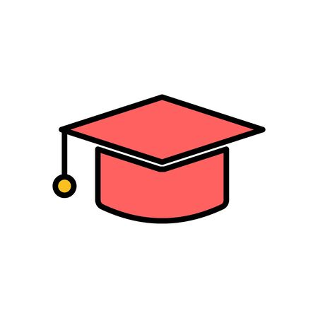 Education icon vector isolated on white background. Graduation cap icon. Graduate. Students cap
