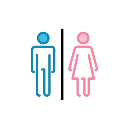 Toilet icon vector isolated on white background. Toilet sign. Man and woman restroom sign vector. Male and female icon