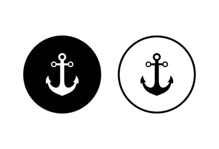 Anchor icons set on white background. Anchor symbol logo. Anchor marine icon.
