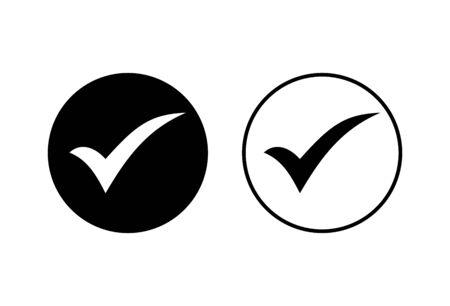 Check icons set on white background. check mark icon. check list button icon. Tick