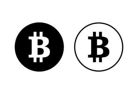 Bitcoin sign icons set on white background. Crypto currency symbol. Blockchain. Cryptocurrency Vectores