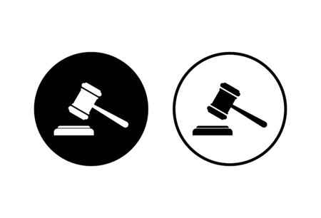 Gavel icons set on white background. Hammer icon vector. Judge Gavel Auction Icon Vector. Bid Vectores
