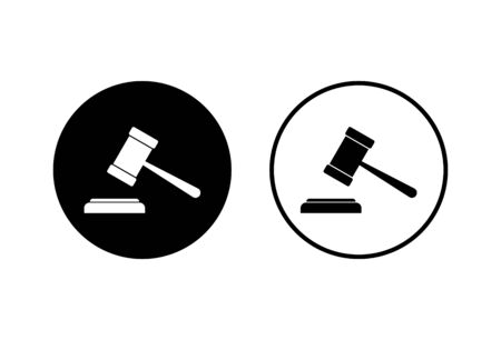 Gavel icons set on white background. Hammer icon vector. Judge Gavel Auction Icon Vector. Bid Foto de archivo - 150096384