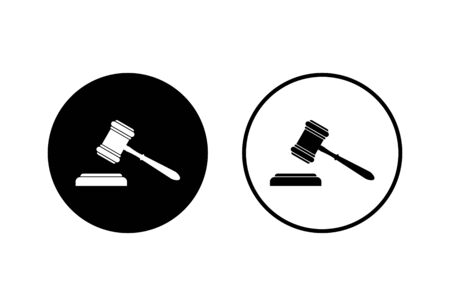Gavel icons set on white background. Hammer icon vector. Judge Gavel Auction Icon Vector. Bid Foto de archivo - 150096385