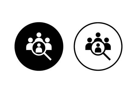 Embauche d'icônes sur fond blanc. Notion de ressources humaines. Recrutement. Rechercher l'icône d'offre d'emploi. Louer. Icône Rechercher des personnes Vecteurs