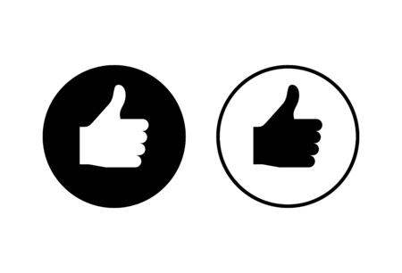 like icons set on white background. Thumbs up icon. social media icon