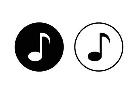 Music icons set on white background, music vector icon, Melody, song, note, sound, audio sign