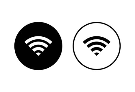 WIFI Icons set on white background. signal vector icon. Wireless and wifi icon or sign for remote internet access