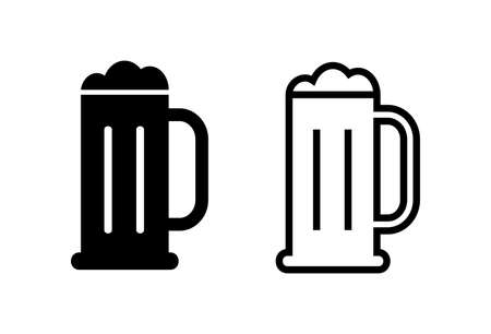 Beer icons set on white background. Beer Icon in trendy flat style