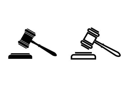 Gavel icons set on white background. Hammer icon vector. Judge Gavel Auction Icon Vector. Bid