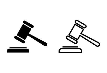 Gavel icons set on white background. Hammer icon vector. Judge Gavel Auction Icon Vector. Bid 向量圖像