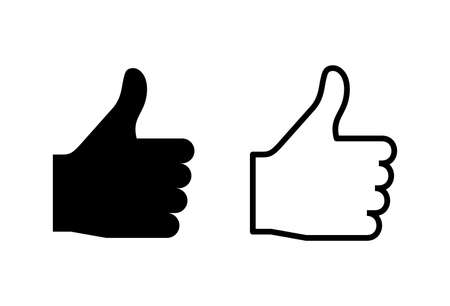 Like icons set on white background. Thumbs up icon. social media icon