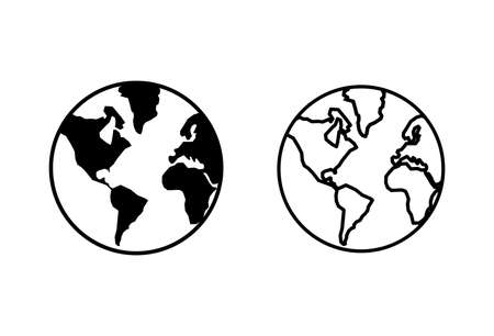 World map icons set. World icon vector