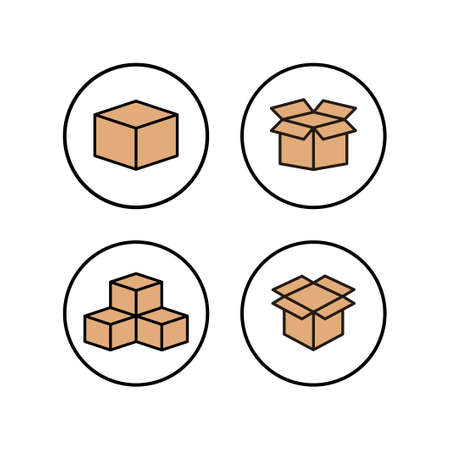 Open box icons set. Cardboard box, packaging open. Box icon vector