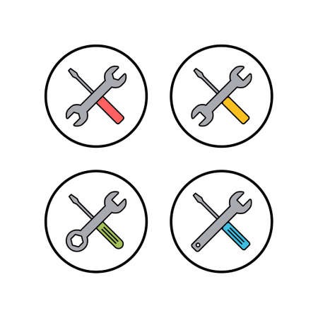 Repair icons set. Wrench and screwdriver icon. Settings vector icon. Maintenance