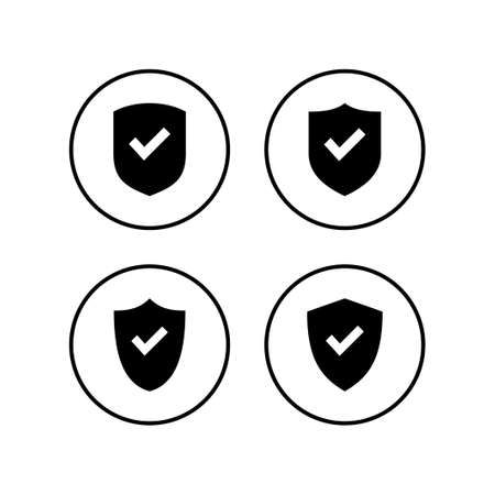 Shield check mark logo icons set. Protection approve sign. Safe icon vector