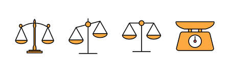 Scales icons set. Law scale icon. Scales vector icon. Justice