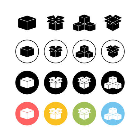 set of Open box icons . Cardboard box, packaging open. Box icon vector