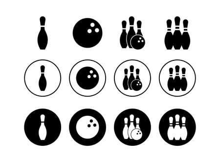 set of Bowling game Pin Icons . Bowling icon, ball and pin