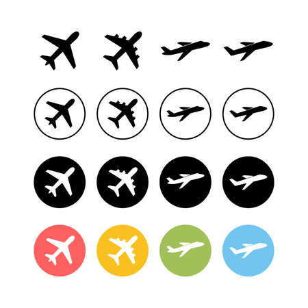 Set of Plane icons. Aeroplane vector icon. Flight transport symbol. Travel element illustration. Holiday symbol. Airplane