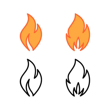 set of Fire icons. Fire flame icon template.