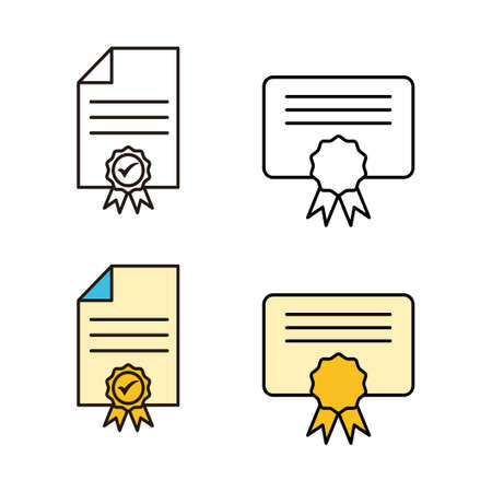set of License icons. Approved or Certified Medal Icon