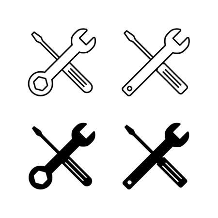 Set of Repair icons. Wrench and screwdriver icon. tings vector icon. Maintenance