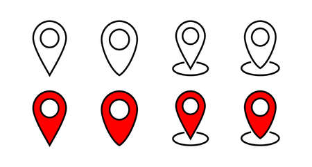 Set of Pin icons. Location icon. Map pointer icon. Point. Locator. Address