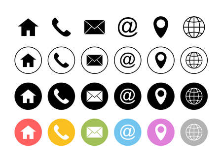 Web icon set. Business card contact information icons. Contact us icon set