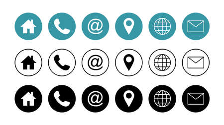 Web icon set. Business card contact information icon. Contact us icon set Vetores