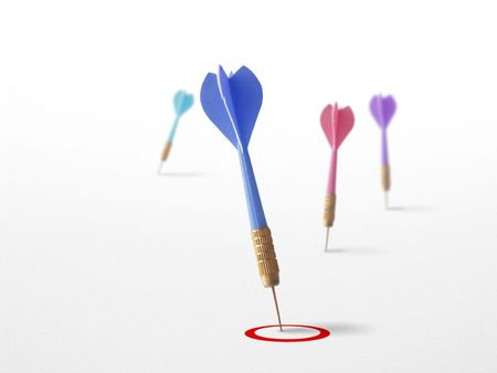 keyword: 3 darts on a white background symbol of success in marketing,  communication and business. Stock Photo