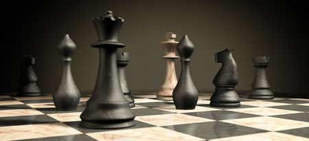 combative: marble chess board and checkmate situation symbol of business success