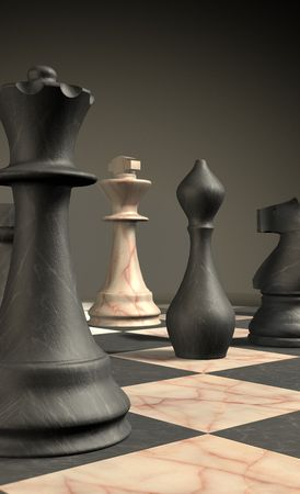 marble chess board and checkmate situation symbol of business success