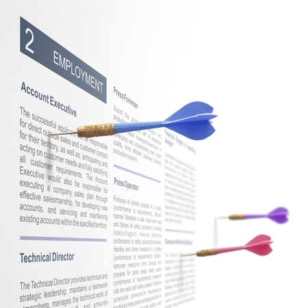 job search advertisement with 3 darts on a wall photo
