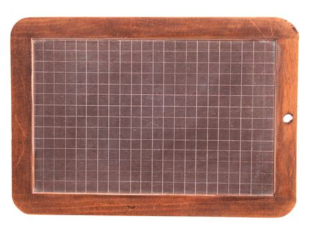 blank old Wooden framed slate blackboard or chalkboard isolated on white background Stock Photo - 1840801