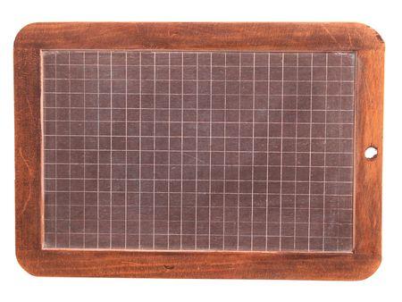 blank old Wooden framed slate blackboard or chalkboard isolated on white background photo