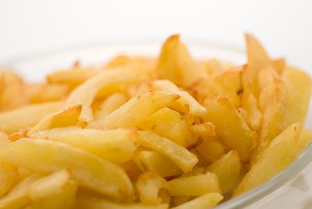 frites: home made french frites on a white background