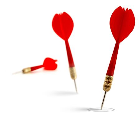 relevance: 3 red darts isolated on a white background the first one reach the target the second dart fail the objective  Stock Photo