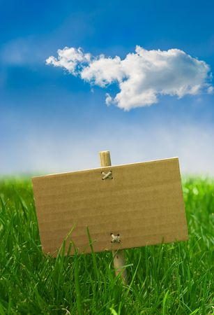 nature banner on a green grass and blue sky - marketing  photo